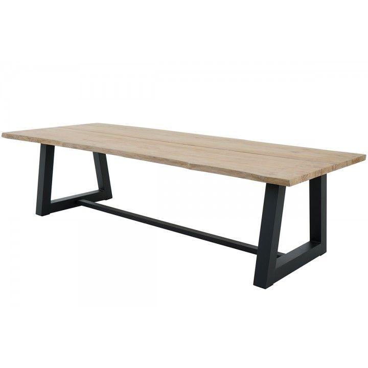 Table en teck massif et alu noir 280 cm, Silvio