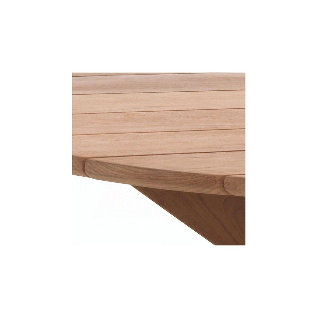 Table de jardin ronde en teck massif d 135 cm, 8 couverts, Java