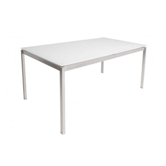 Table rectangulaire plateau verre pieds inox