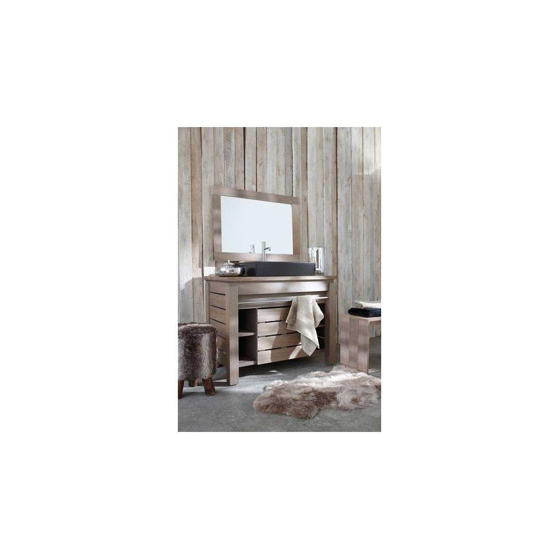 """Meuble vasque en chêne massif avec une porte, gamme Origin de Line Art, finition """"Silver Grey"""""""