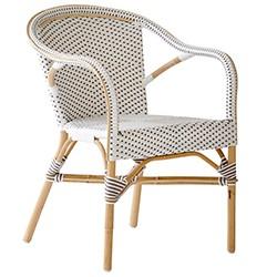 Table et fauteuil de jardin en rotin
