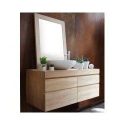 Meuble de salle de bain suspendu en teck massif tr s for Meuble salle de bain suspendu bois