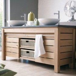 Meuble de salle de bain en teck et chêne massif